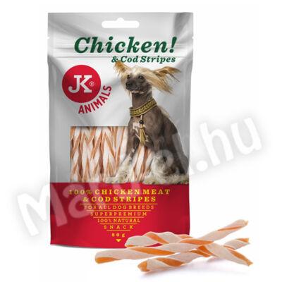 JK Snack csirke és tőkehal csíkok kutyának 80g 44963