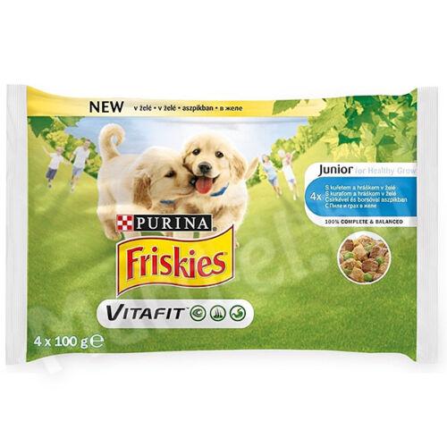 Friskies alut. kutya junior csirkével és borsóval aszpikban 4x100g